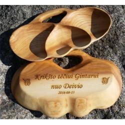 Trivietė uosio medienos lėkštė